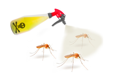 pest control: Plastic sprayer with insecticide spraying mosquitos. Digital artwork on pest control and healthcare theme.