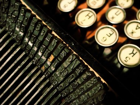 Close-up of antique typewriter with cyrillic alphabet, about 100 years old