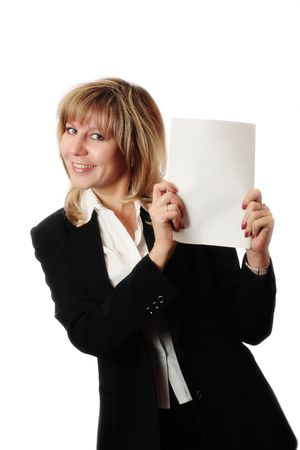 Cheerful standing woman in black and white office clothing holding white brochure. Room for text, or your own message. Brochure copyspace with embedded photoshop path.