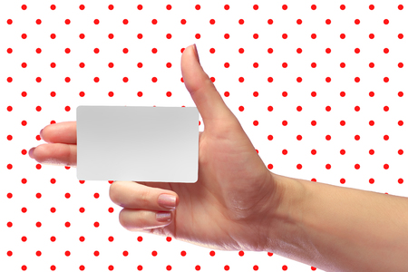 transponder: Right Female Hand Hold Blank White Card Mockup. Prepaid SIM Cellular Plastic Transponder NFC  Smart Tag Id EPC RFID Call-card Mock Up Template With Rounded Corners. Front Display of  Credit Namecard or Cell Operator Transport Identification Metro Ticket.