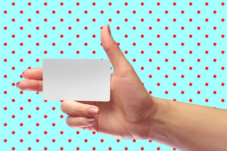 Right Female Hand Hold Blank White Card Mockup. Prepaid SIM Cellular Plastic Transponder NFC  Smart Tag Id EPC RFID Call-card Mock Up Template With Rounded Corners. Front Display of  Credit Namecard or Cell Operator Transport Identification Metro Ticket.