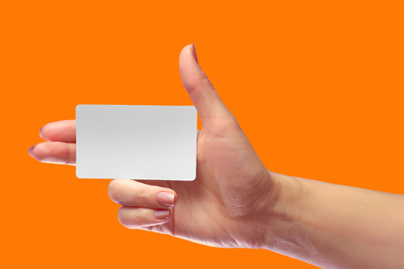 Right Female Hand Hold Blank White Card Mockup. Prepaid Plastic Transponder NFC Smart Tag Id  EPC RFID Call-card Mock Up Template With Rounded Corners. Front Display of Credit Namecard  or Transport Identification Metro Ticket. Business Branding. Brand-bo Stock Photo