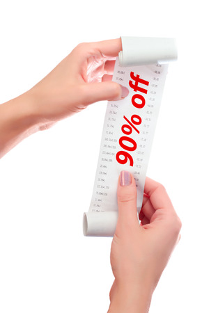 over paying: Woman Hold in Her Hands Roll of Paper With Printed Receipt Mock Up Template. Text 90% off in Red Over Digits on Mockup.  May Be Used in Article About Shopping, Paying Bills and Finance. Copy Space.