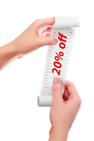over paying: Woman Hold in Her Hands Roll of Paper With Printed Receipt Mock Up Template. Text 20% off in Red Over Digits on Mockup.  May Be Used in Article About Shopping, Paying Bills and Finance. Copy Space.