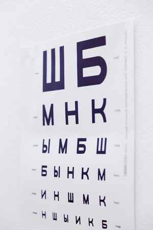 Ophthalmic chart for checking visual acuity. Russian letters or soviet version. USSR. Doctor's office. Optics store. BW (black and white) version