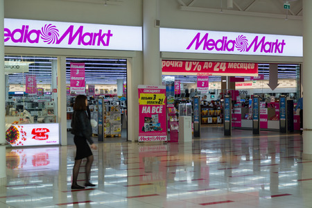 MOSCOW, RUSSIA - MAY 26, 2018: MediaMarkt CE store entrance in the Aviapark shopping mall. The Safmar group agreed to purchase a Russian network of home appliances and electronics Media Markt. Editorial