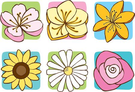 Icônes de fleurs de printemps Banque d'images - 5424409