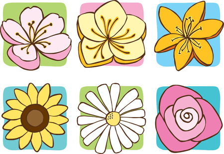 Spring Flower Icons Vector