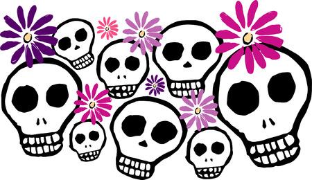 Skulls and Daisies Vector
