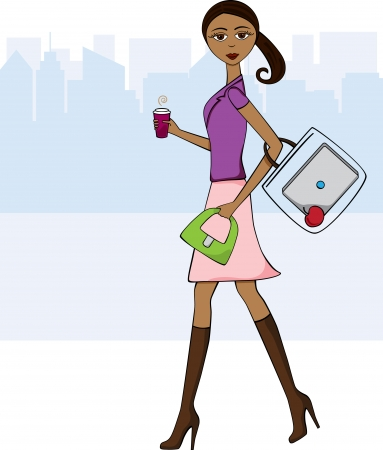 African American woman walking to work with her coffee, laptop and an apple for a snack.