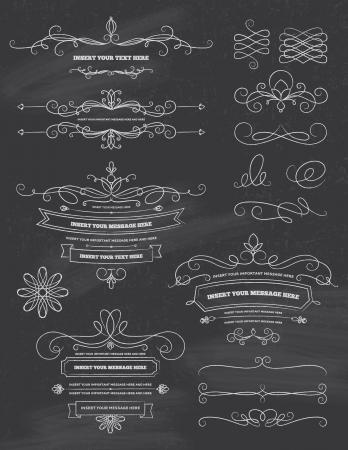 ビンテージ書道黒板デザイン要素  イラスト・ベクター素材