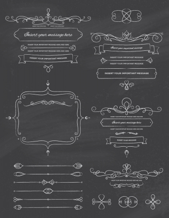 Vintage Calligraphy Chalkboard Design Elements Two Vector