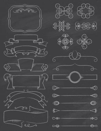 Vintage Calligraphy Chalkboard Design Elements Five Vettoriali
