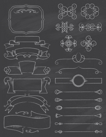 Vintage Calligraphy Chalkboard Design Elements Five Vector