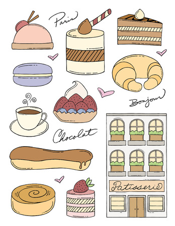 French Bakery Doodles Vector