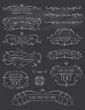 Vintage Calligraphy ChalkBoard Elements Seven 版權商用圖片 - 24804178