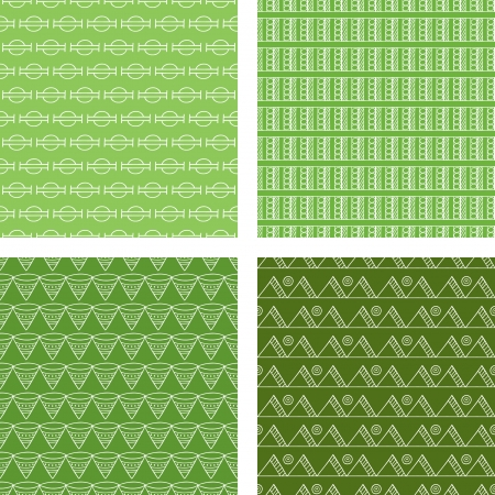 Seamless Doodle Pattern Set Lime Green