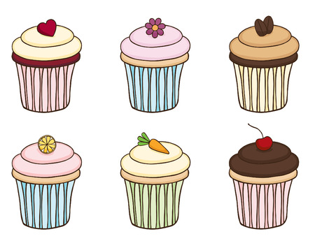 Doodle Cupcake Set Stock Vector - 24934723