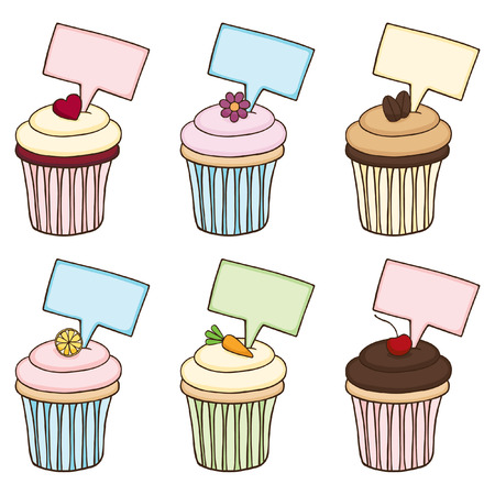 Doodle Cupcake Set with Signs Vector