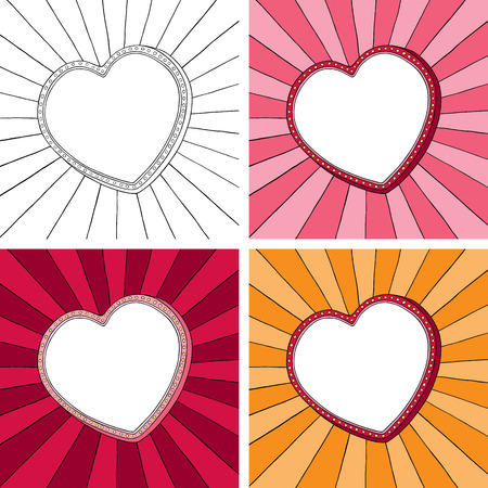 Doodle heart frame with sunbeam radial