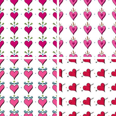 Seamless Doodle Heart Pattern Vettoriali