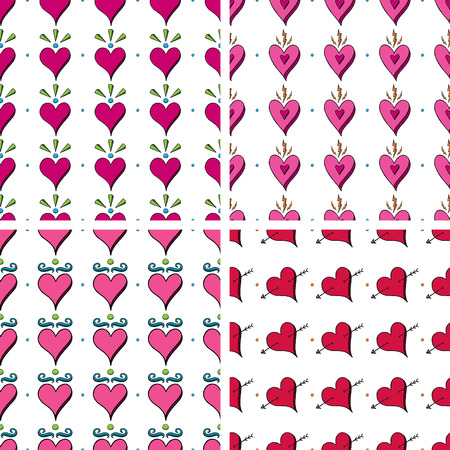 Seamless Doodle Heart Pattern Vector
