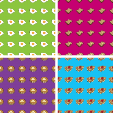 Seamless Doodle Breakfast Patterns Vector