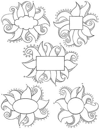 Doodle Frames Outline Vettoriali