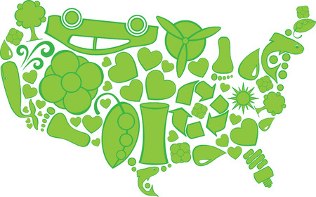 Eco Doodles United States Vettoriali