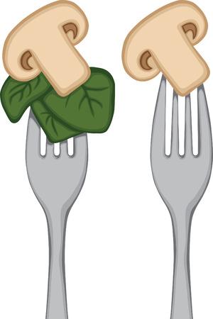 포크 버섯에 야채 일러스트