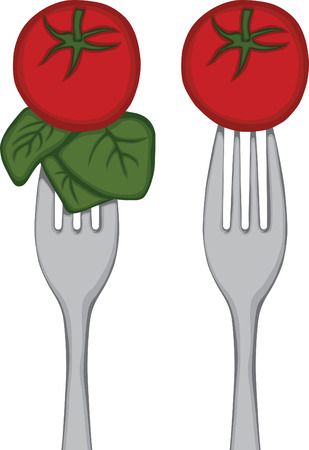 spinach: Vegetables on a Fork  Tomato