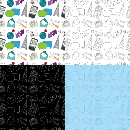 radio tower: Seamless Doodle Communication Pattern