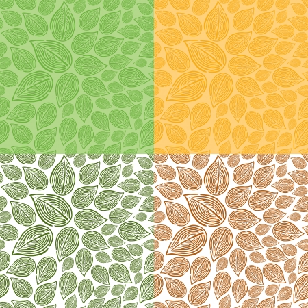 Seamless Doodle Leaf Pattern