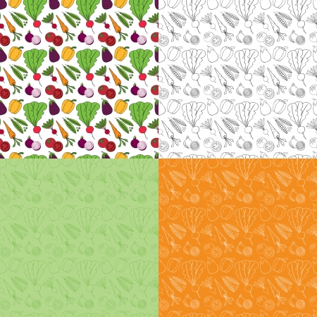 Seamless Doodle Vegetable Pattern Vector