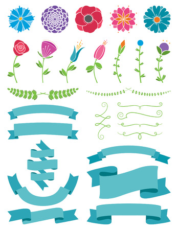 Flowers and Ribbons Design Elements