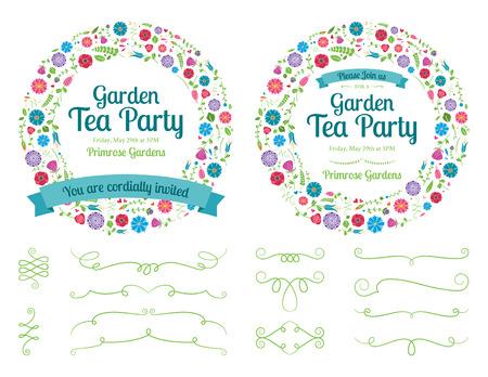 Flower Wreath Invitation and Design Elements