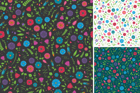 Seamless Flower and Leaf Pattern Vector