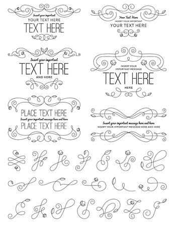 Vintage Calligraphy Flower Design Elements
