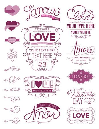 Love Design Elements One Vettoriali