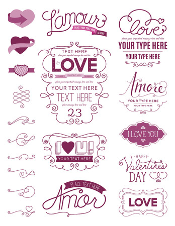 frame vintage: Love Design Elements One Illustration