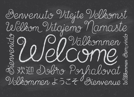 chalk drawing: Chalkboard Welcome Script in Different Languages