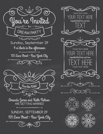 Chalkboard Swirl Invitations and Elements