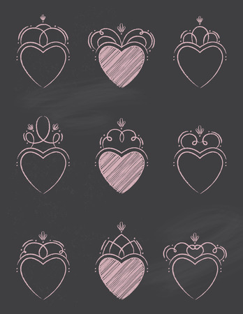 Chalkboard Swirl Hearts Illustration