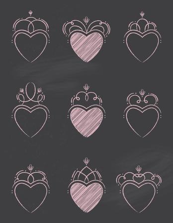 Chalkboard Swirl Hearts Vettoriali