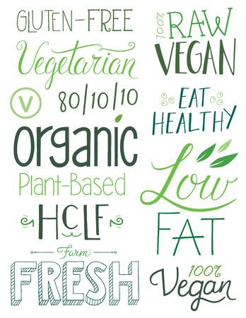 Vegan Hand drawn Text Elements Vettoriali