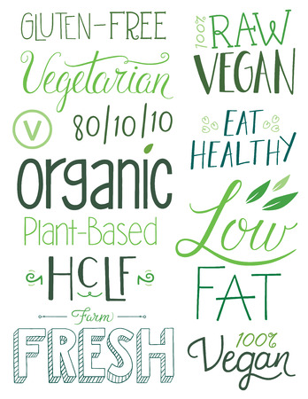 Vegan Hand drawn Text Elements Illustration