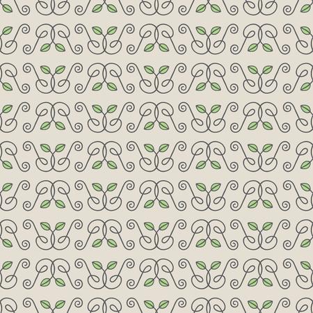 Seamless Hand Drawn Leaf Pattern Vettoriali
