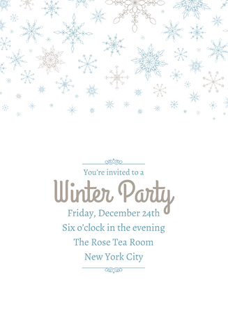 christmas blue: Snowflake Party Invitation One