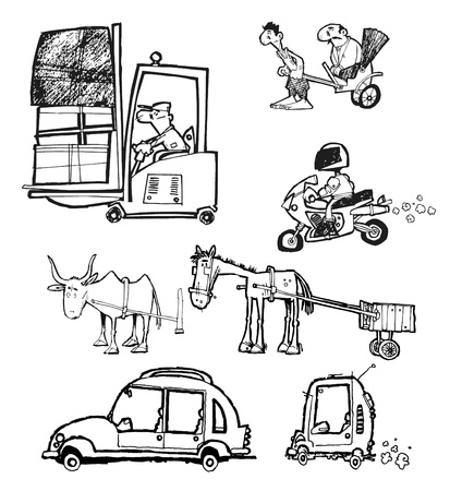 horse cart: Some cartoon transports objects
