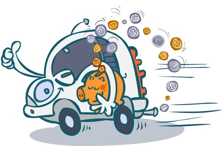 mini car: Cartoon economical car.  Illustration